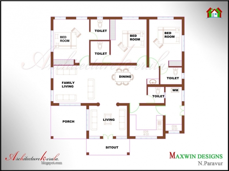 Top Photo of Kerala House Plan Photos And Its Elevations, Contemporary Style Simple 2 Floor 4Bed Room Full House Plan With Its Elevation Picture