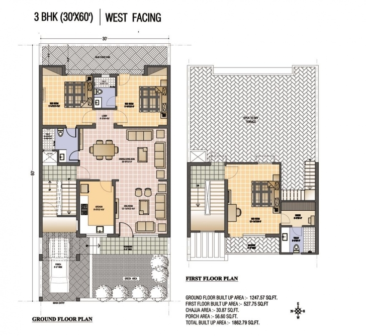 Top Photo of Metal Building House Plans 30X70 | Renderd Plan (30'x60') West 20*60 House Plan 3Bhk Picture