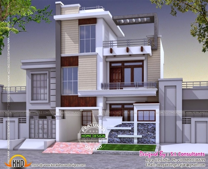 Top Photo of Modern 3 Bedroom House In India - Kerala Home Design And Floor Plans 25 Feet Front Design Pic
