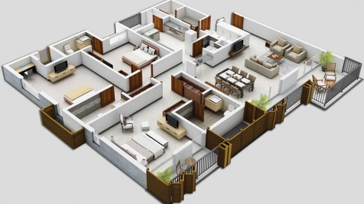 Top Photo of Simple House Plan With 5 Bedrooms 3D Images And Stunning In Basement 5 Bedroom House Plans 3D Photo