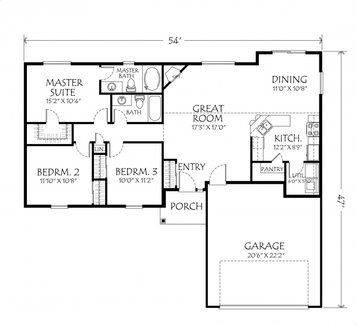 Top Photo of Single+Story+Open+Floor+Plans | Single Story Plan 3 Bedrooms 2 Small Single Story House Floor Plans Image