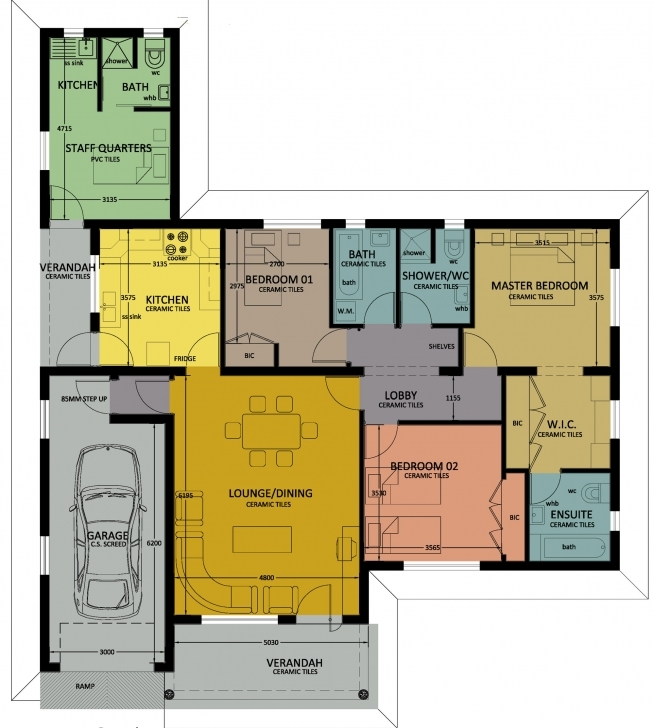 Top Photo of Type 120 | Bhc 3 Bed Room Floor House Plans In Jwaneng Image