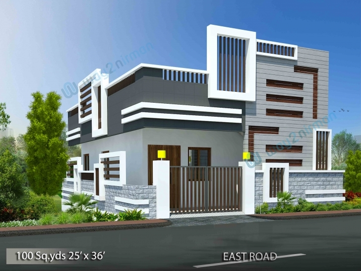 Wonderful 100-Sq.yds@25X36-Sq.ft-North-Face-House-2Bhk-Elevation-View House North Face Elevationsfirstflor Pic