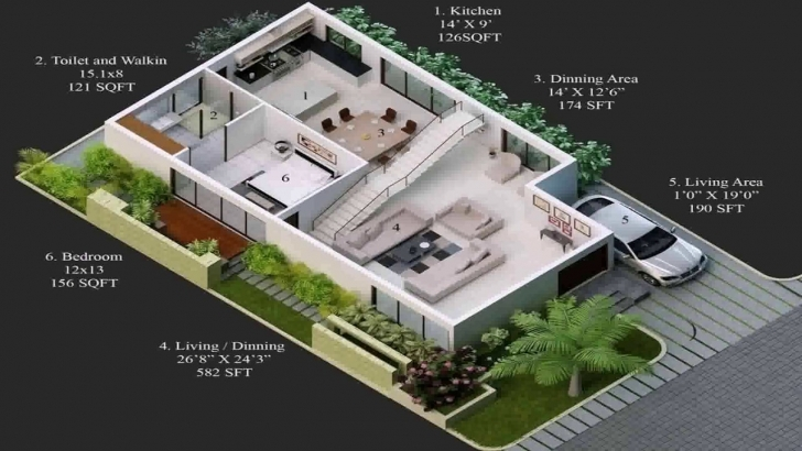 Wonderful 20 X 60 House Plans India - Youtube 20*60 House Plan 3D Pic