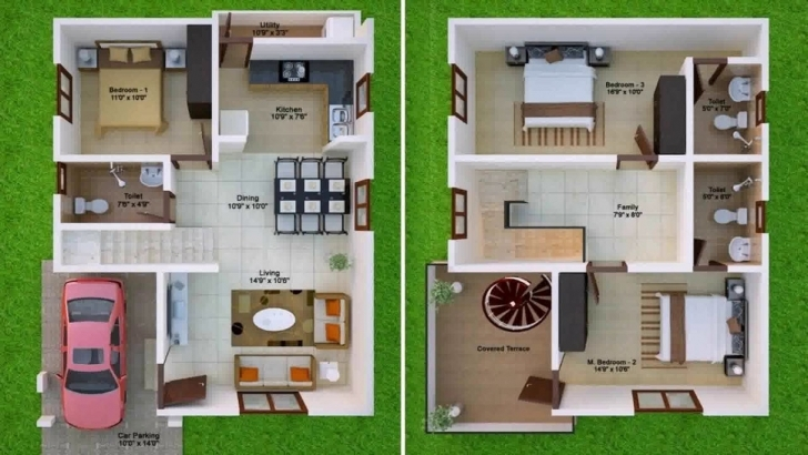 Wonderful 600 Sq Ft House Plans 2 Bedroom Indian Style - Youtube 20*50 House Plan 2 Bhk 3D View Image