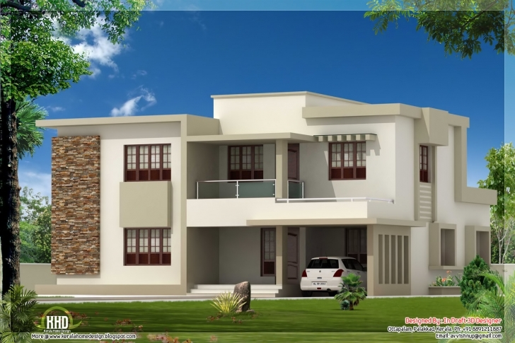 Wonderful Bedroom Contemporary Flat Roof Home Design House Plans - Building Simple Flat Modern House Picture