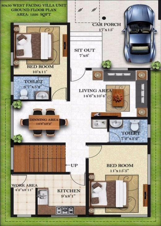 Wonderful Duplex House Plans 30X50 South Facing - Homes Zone 15*50 House Map 3D Pic