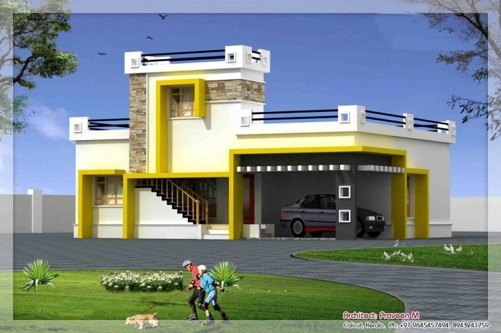 Wonderful Front Elevation Of Single Floor House Kerala Images With Attractive Single Floor Home Front Elevation Designs Picture