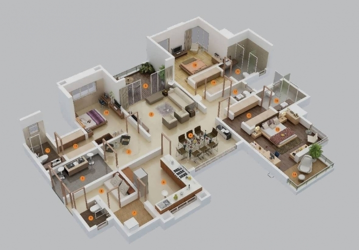 Wonderful More 5 Cute House Plan For Three Bedroom Flat Floor Plan Of 3 Plan Of Five Bedroom Flat Photo